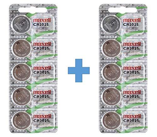 Maxell 10 Stück CR2025 Batterien (Lithium Knopfzelle 3V Batterie in 2 x 5er Pack Knopfzellen)