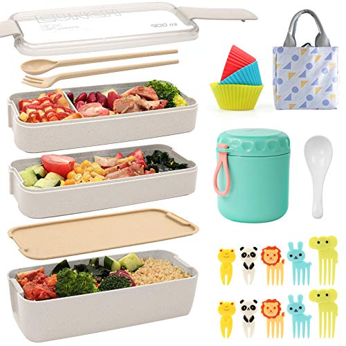 Ozazuco Bento Box Japanese Lunch Box3-In-1 Compartment - Wheat Straw Leakproof Eco-Friendly Bento Lunch Box Meal Prep Containers for Kids Adults