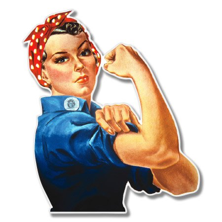 AK Wall Art Rosie The Riveter Vinyl Feminist Sticker - Car Phone Helmet - Select Size
