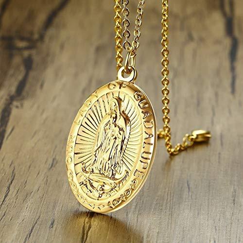 Hombres Nuestra Señora De Guadalupe Medalla Colgante Collar En Acero Inoxidable Tono Dorado Virgen María Patrona Saint Medallas Joyería Masculina