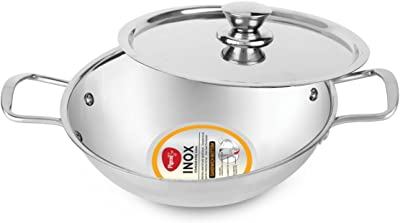 Pigeon by Stoverkraft Inox Stainless Steel Kadai with Lid (Medium, Silver)
