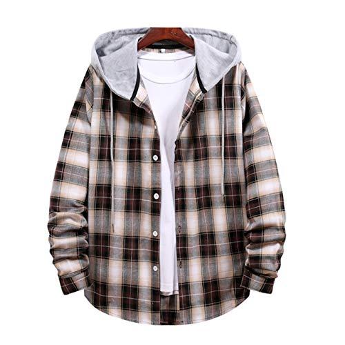 ANGLE Hombres de la moda de manga larga chaqueta camisa casual con capucha a cuadros superior al aire libre joggings entrenamiento senderismo camisa superior chaqueta