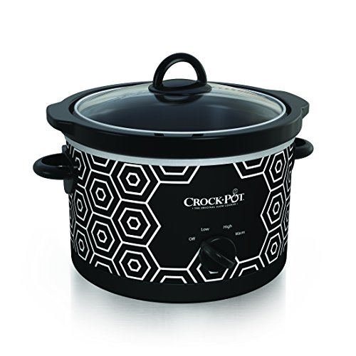 Cheapest Price! Crockpot Round Slow Cooker, 4.5 quart, Black & White Pattern (SCR450-HX)