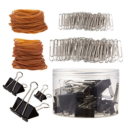 Office Supply Set, Includes Paper Clips, Rubber Bands, and Binder Clips (375 Pieces)