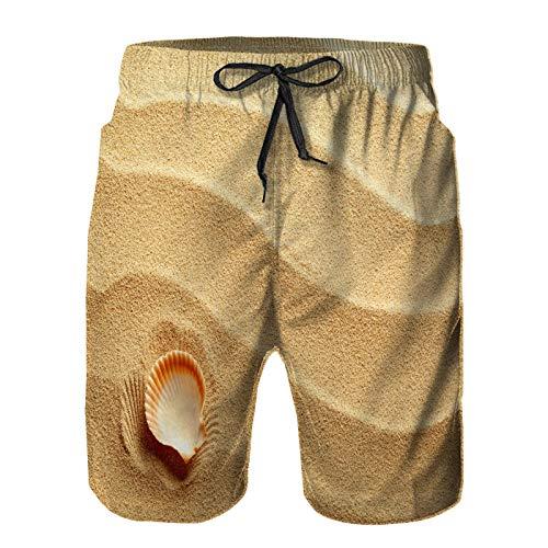 Hombres Verano Secado rápido Pantalones Cortos Playa Pequeña Concha sobre Arena Amarilla Dorada Playa temática Costera del Antiguo mar Trajes de baño Correr Surf Deportes-L