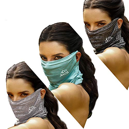 ARRUSA Summer Cool Face Cover, Neck Gaiter Dust&UV-Protection Bandanas Breathable Scarf for Women&Men Outdoor Sports (Grey+Sliver+Blue)