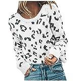 Damen Leopardenmuster Tops Kurzarm mit Rundhalsausschnitt Basic Casual Shirt Damenmode Leopardenmuster Jacquard Rundhals Pullover