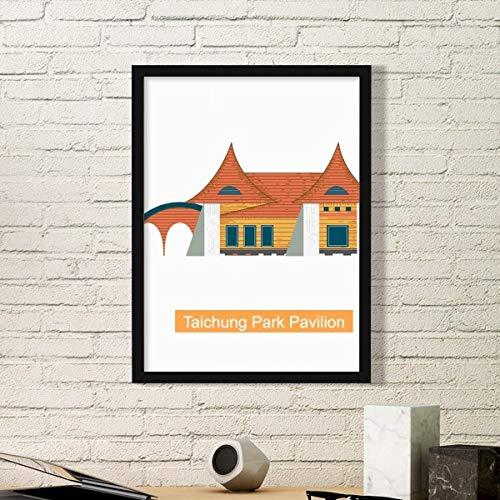 DIYthinker Taiwan Attracties Taichung Park Paviljoen Eenvoudige Foto Frame Kunst Prints Schilderijen Thuis Muursticker Gift