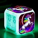 Réveils numériques Licorne pour les filles, LED de nuit brillante avec enfants légers Réveillez-vous l'horloge de chevet Cadeaux d'anniversaire pour les enfants Femmes Chambre (3)