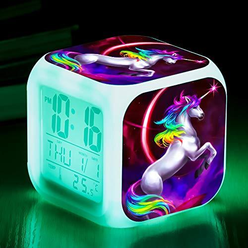 Unicornio Relojes de alarma digitales para niñas, LED de noche que brilla intensamente Reloj LCD con luz para niños Despertar Reloj de cabecera Regalos de cumpleaños para niños Mujeres Dormitorio (4)