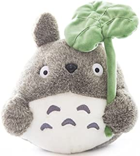 Cute Grey Totoro Stuffed Plush Animal Toy with Leaf, Large