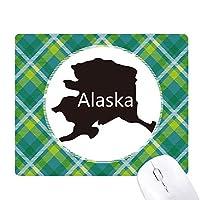 アラスカUSAマップ星条旗緑の格子グリッドピクセルマウスパッド