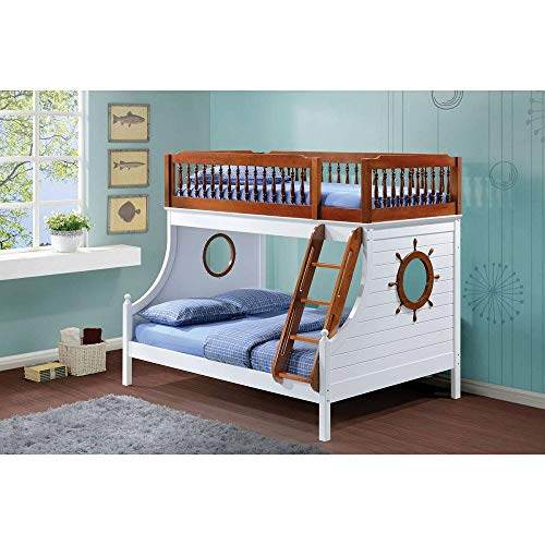 Wood Ship Shape Bunk Beds Twin Over Full with Ladder,Solid Wood Bunk Bed with Easy Access Guard-Rail,Supporting Slat and Decorative Finials,Ship Wheel Design on Both Walls,for Kids Bedroom,Us Stocks
