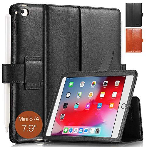 KAVAJ Lederhülle London geeignet für Apple iPad Mini 5 (2019) und 4 Hülle Echtleder Hülle Schwarz aus echtem Leder mit Stand & Auto Schlaf/Aufwachen Funktion. Dünnes Smart-Cover Schutzhülle