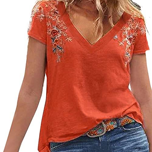 FOTBIMK Camiseta de manga corta con cuello en V y bordado de verano para mujer
