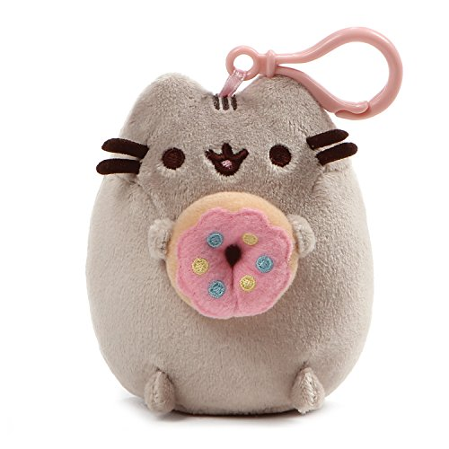 GUND Pusheen Snackable Donut Cat Plush Stuffed Animal Backpack Clip, Gray, 5'