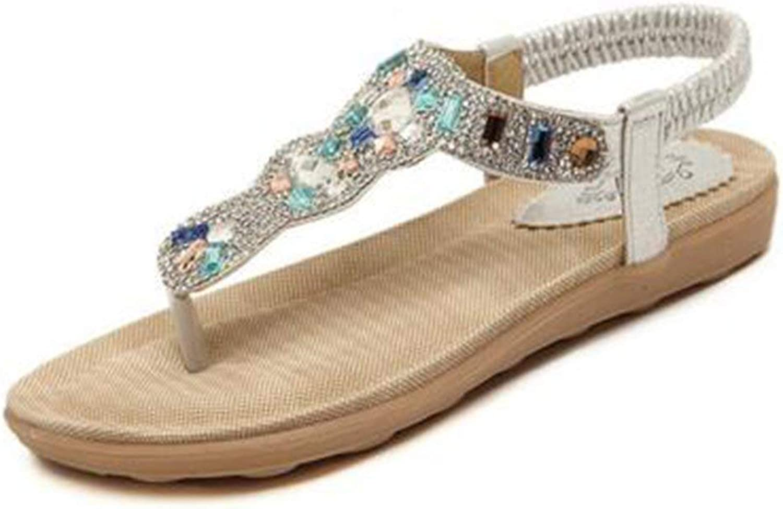 Lelehwhge Women's Rhinestone Elastic Sling Back Flats Beach Thong Sandals Silver 6 M US