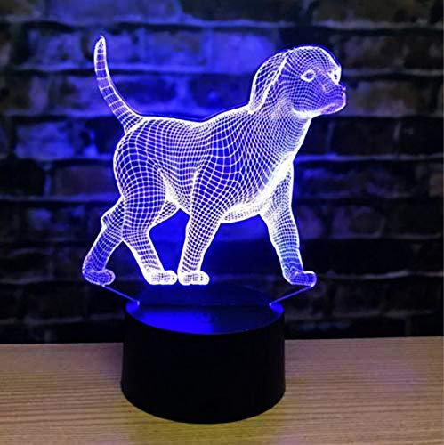 Jinson well 3D Hund Lampe led Illusion Nachtlicht, 7 Farbwechsel Touch Switch Tisch Schreibtisch Dekoration Lampen perfekte mit Acryl ABS Base USB Kabel Spielzeug