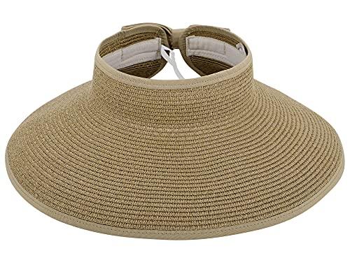 Simplicity Women's UPF 50+ Wide Brim Roll-up Straw Sun Hat Sun Visor Natural Brown