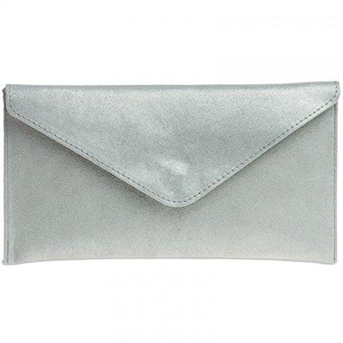 Caspar TL708 Damen Velours Wildleder Envelope Clutch Tasche Abendtasche mit Handschlaufe, Farbe:silber, Größe:One Size