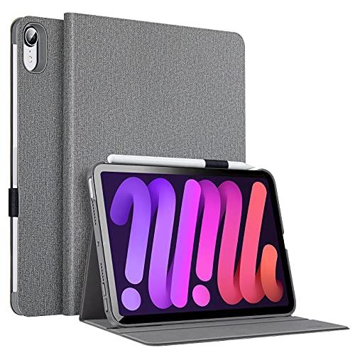 ESR Funda Folio compatible con iPad mini 6 2021, funda con diseño de libro, suspensión/encendido automático, soporte para lápiz, soporte de visualización de ángulo doble, serie Urban, gris