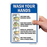 SmartSign Hand Washing Sign, Wash Your Hands Sign, 7 x 10 Inches 40 Mil Thick Aluminum, Easy to Install, Weather-Proof, USA Made