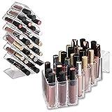byAlegory Organizador de acrílico del maquillaje del lustre del labio 28 espacios | Diseñado Para Estar & Lay Flat
