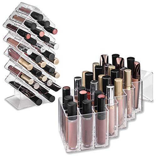 byAlegory Acrylic Lip Gloss Makeup Organizer 28 Space Storage w/ Deep Slots Designed To Stand Lay Flat & Be Stacked Refillable Cosmetic Container - Clear