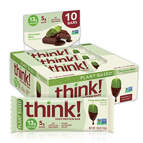 think! (thinkThin) Vegan/Plant Based High Protein Bars-Chocolate Mint, 13g Protein, 5g Sugar, No...