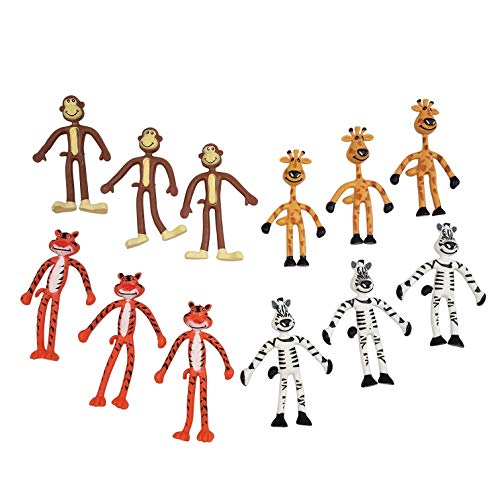 Funeez Bendable Animal Toys - Assorted Zoo Animals Bendable Figures - Pack of 12 Animal Party Favors - Giraffes, Zebras, Tigers, and Monkeys - 4-inch Bendable Toys