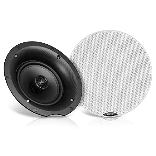 """Pyle Pair 8.0"""" Bluetooth Universal Flush Mount In-wall In-ceiling 2-Way Speaker System Dual Polypropylene Cone & Polymer Tweeter Stereo Sound 400 Watts (PDICBT87) , Black"""