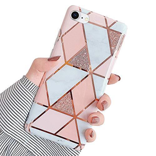 Urhause Kompatibel mit iPhone 8 Hülle TPU Silikon Bunt Schutzhülle,[Marmor Muster Silikonhülle] Hülle Gemalt,Ultra Slim Durchsichtig mit Muster Bumper Stoßfest Hülle,Rosa