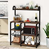 Tribesigns Kitchen Baker's Rack, 35.5 inch Utility Storage Shelf, 5 Tier Microwave Oven Stand Coffee Bar with Wire Basket 6 Hooks for Spice Rack Organizer Workstation (Vintge Brown)
