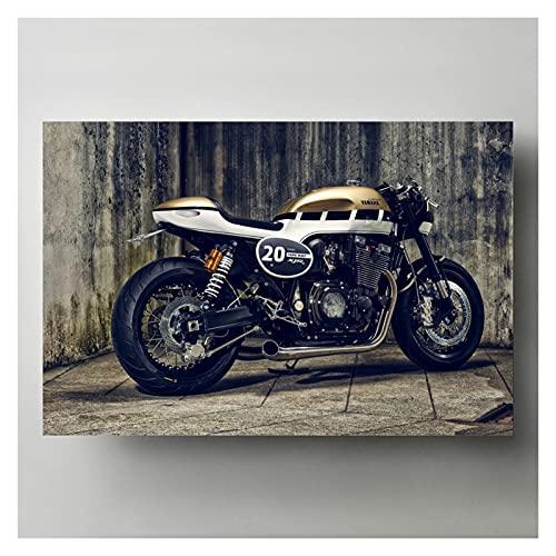 Pinturas de lienzo de arte de la pared Yamahas XJR 1300 Café Motocicleta Pósteres e impresiones Living Superbike Imagen para la decoración de la habitación 20x28 Inch Sin marco