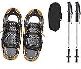 25 pollici con le ciaspole, scarpe da neve unisex, racchette da neve leggera in lega di alluminio in lega di alluminio scarpe da neve con pali di trekking e gamba portante ghetta invernale,Marrone