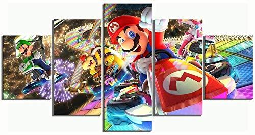 Lienzo decorativo para el hogar, figura de Super Mario Bros, 5 unidades, arte moderno giclée para salón, decoración, impresión fotográfica sobre lienzo, póster sin marco (30 x 60-30 x 70-30 x 80 cm)