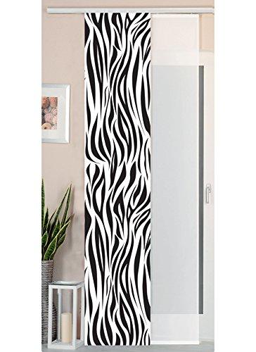 Gardinenbox 2er Set Schiebegardine Flächenvorhang Wildseide Optik und Voile Paneel, 245x45, Zebra, 80400