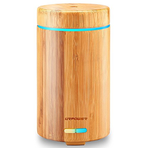 URPOWER OD-A001 Real Bamboo Essential Oil Ultrasonic Aromotherapy Cool Aroma Diffuser with Adjustable Mist Modes, Waterless Auto Shut-Off, 7 Color LED Lights for Home Office