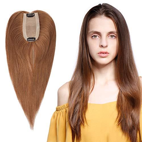"""Volumateur Femme a Clip - Extension 100% Cheveux Humain Naturel Complément Capillaire - SIIL BASE (10""""(25cm), 06 Châtain Clair, Densité: 120%)"""