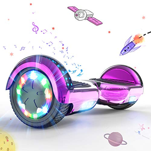 """MARKBOARD Patinete Eléctrico 6.5"""" Hoverboard con Luces LED, Flash Ruedas, Cinco Estrellas con Bluetooth, Scooter Monopatín Auto Equilibrio Hoverboard"""