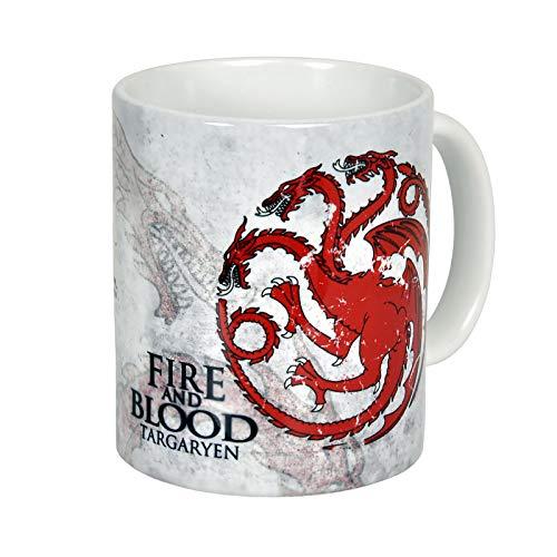 Elbenwald Game of Thrones - Targaryen Tasse, offiziell lizenziert, umlaufend Bedruckt, 300 ml