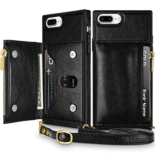 Coolden for iPhone 8 Plus Wallet Case with Lanyard Crossbody Strap Credit Card Holder Slot Square Cover Protective Soft PU Leather Zipper Back Case for 5.5 inch iPhone 6s Plus 7 Plus 8 Plus Black