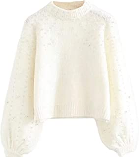 Women Loose Fit Long Sleeve Turtleneck Beads Knit Sweater Pullover