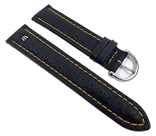 Maurice Lacroix Ersatzband Uhrarmband Leder Band Tiago Waterproof schwarz/Gelb 20mm 21936S