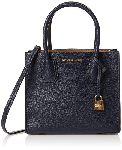 Michael Kors Damen Mercer Grained Leather Shoulder Bag Shopper, Blau (Admiral), 11x20x22 cm