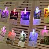 Lámpara de pared con clip de cadena de luz LED para fotografía, guirnalda de cadena LED, decoración de línea para fiesta de boda, luz fotográfica, batería multicolor, 2m10 leds