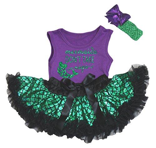 Petitebelle zeemeerminnen niet nemen Napels paars shirt groene weegschalen Baby Tutu 3-12m