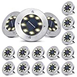 Solar Ground Lights 16 Packs - 8 LED Solar Garden Lights Outdoor Waterproof in-Upgraded Outdoor Garden Waterproof Bright in-Ground Lights for Lawn Pathway Yard Driveway(Warm White)