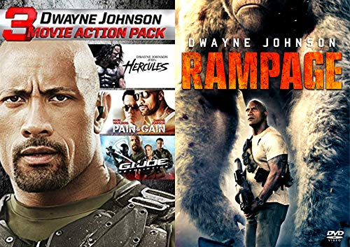 Hardest Worker In The Room... Dwayne The Rock Johnson Quadruple Feature: Rampage + Hercules/ G.I. Joe Retaliation/ Pain And Gain The ROCK + ACTION/ COMEDY DVD Bundle