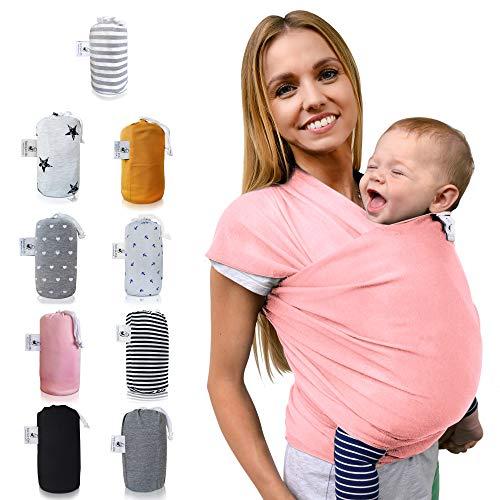 Fastique Kids® Tragetuch - elastisches Babytragetuch für Früh- und Neugeborene + Anleitung (5,2m x 0,55m, Flamingo Pink)